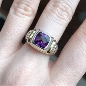 Vintage David Yurman 14K Gold Silver Amethyst Ring